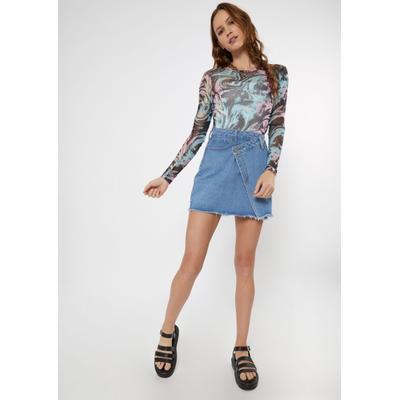 Rue21 Womens Light Wash Asymmetrical Crisscross Denim Skirt - Size S