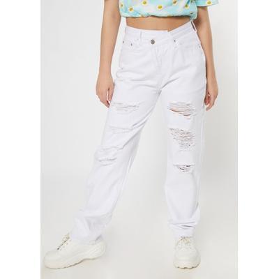Rue21 Womens White Asymmetrical Waist Straight Jeans - Size 4