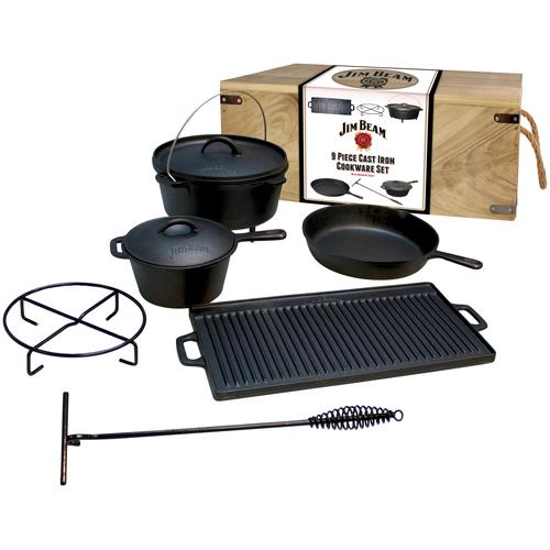 Jim Beam BBQ Topf-Set, Gusseisen, (9 tlg.) schwarz Zubehör für Grills Garten Balkon Topf-Set