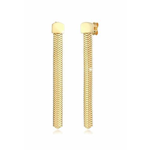 Ohrringe Hänger Kette Fischgräte Trend 925 Silber Elli Premium Gold