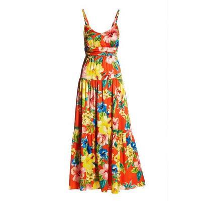 Boston Proper - Tropical Capri Tiered Maxi Dress - Orange Multi - Small