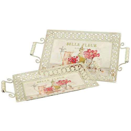 Ambiente Haus Tablett Fleur-Tablett 2er Set beige Dekoschalen Dekotabletts Deko Wohnaccessoires