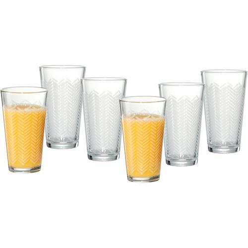 Ritzenhoff & Breker Longdrinkglas Happy, Stripes, (Set, 6 tlg., Longdrinkgläser, je 400 ml), ml, 6-teilig farblos Cocktailgläser Longdrinkgläser Gläser Glaswaren Haushaltswaren