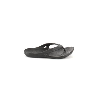 Crocs Flip Flops: Black Solid Shoes - Size 7