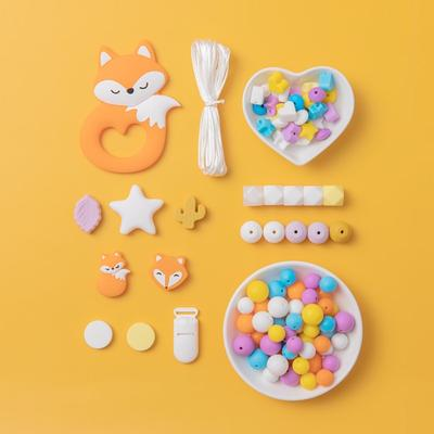 Anneau de dentition en Silicone pour bébé, 1 ensemble, perles sans BPA, bricolage, collier, jouets,