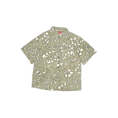 Unionbay Short Sleeve Button Down Shirt: Green Floral Tops - Size 7 Plus