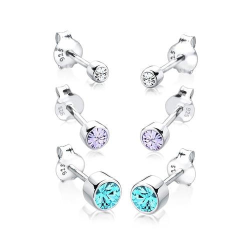 Ohrringe 3Er Set Basic Kristalle 925 Silber Elli Bunt