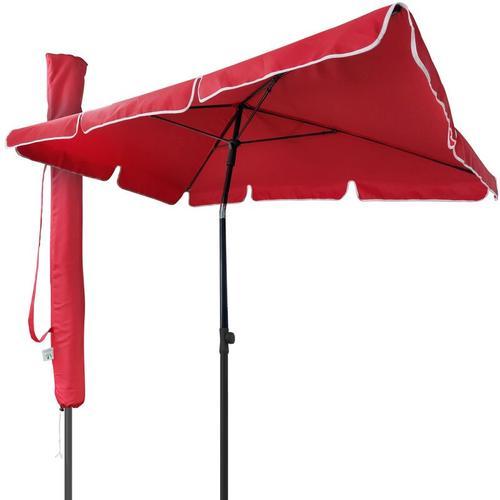 Sonnenschirm für Balkon, 200 × 125 cm, Knickbarer Balkonschirm Rechteckig, Rot - Vounot