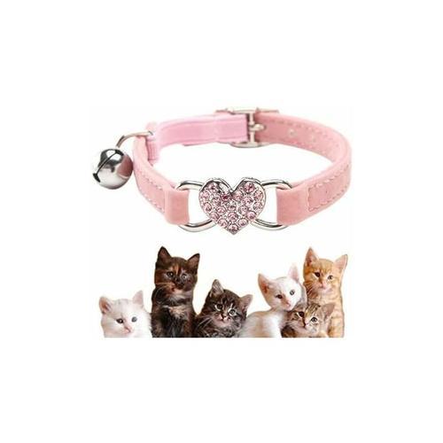 LITZEE Katzenhalsband, verstellbares Katzenhalsband aus weichem Samt mit Glocke, süßem