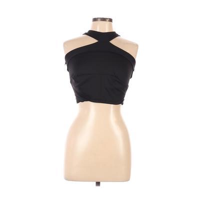 MPG Sports Bra: Black Solid Activewear - Size Medium