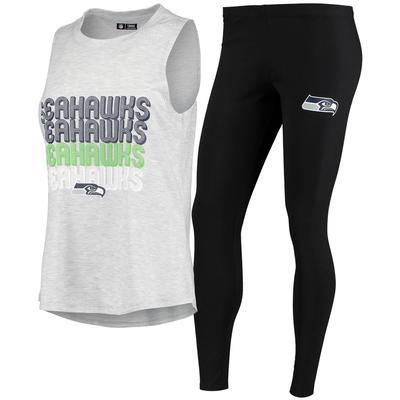 Women's Concepts Sport Heathered Gray/Black Seattle Seahawks Profound Tank Top & Leggings Sleep Set