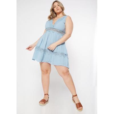Rue21 Womens Plus Size Light Blue Crocheted V Neck Skater Dress - Size 3X