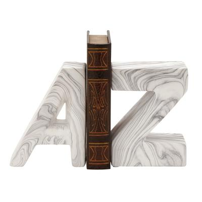 """""""CosmoLiving by Cosmopolitan ( Set of 2 ) White Dolomite Contemporary A Z Bookends, 6"""""""" x 8"""""""" - 59723"""""""