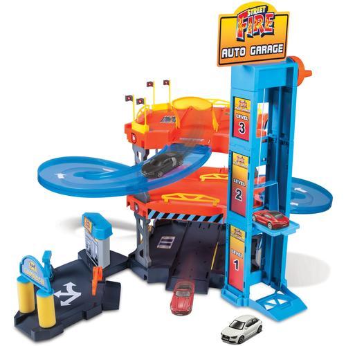 Bburago Spiel-Parkgarage StreetFire AutoGarage, inklusive 2 Fahrzeuge bunt Kinder Zubehör für Spielzeugautos Autos, Eisenbahn Modellbau