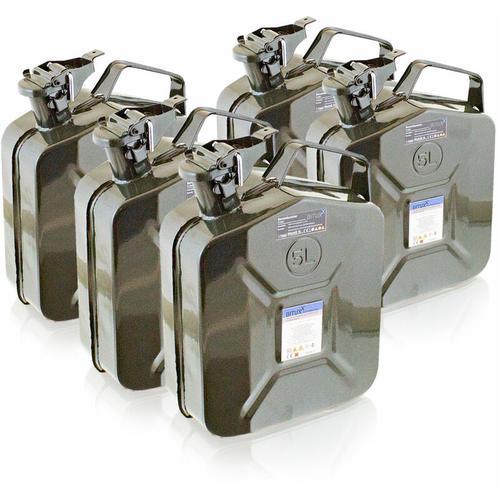 5x 5 Liter Stahl Benzinkanister Kraftstoffkanister Kanister UN Zulassung