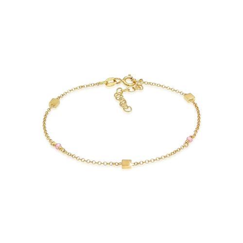 Armband Rosa Quarz Perlen Quadrat 925 Silber Elli Gold