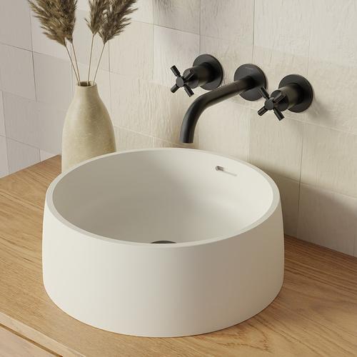 Steinberg Serie 440 Aufsatz-Waschtisch, rundes Design, ø 415 x 150 mm, weiss matt, 4407120W 4407120W