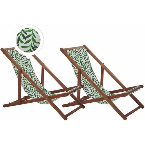 Beliani - Liegestühle 2er Set aus dunklem Akazienholz mit weiß-grünem Bezug zusammenklappbar