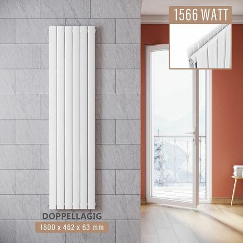 Design Paneelheizkörper Weiß Flachheizkörper Vertikal Doppellagig 1800x462mm - Sonni