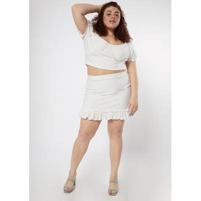 Rue21 Womens Plus Size White Eyelet Crop Top Ruffle Skirt Set - Size 1X
