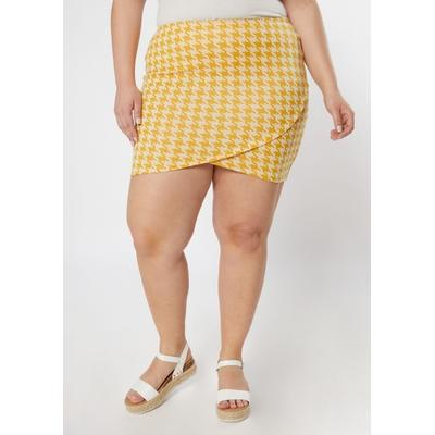 Rue21 Womens Plus Size Mustard Houndstooth Tulip Hem Bodycon Skirt - Size 2X