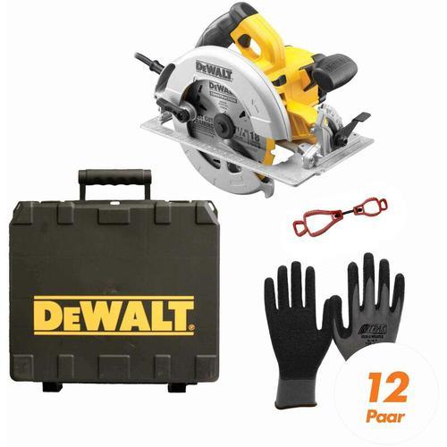 DeWALT Handkreissäge DWE575K-QS SET inkl. Handschuhclip + 12x Arbeitshandschuhe