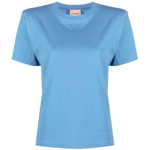 Nude T-Shirt mit Schulterpolstern