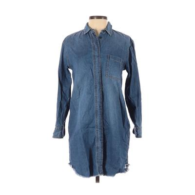 Madewell - Madewell Casual Dress - Shirtdress: Blue Solid Dresses - Used - Size 2X-Small