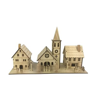 Plywood Laser Cut Village With Lights- Jeco Wholesale CHD-ID092