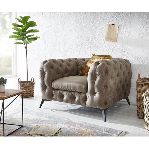 DELIFE Clubsessel Corleone 120x97 cm Taupe Vintage Microvelours Loungesessel, Relaxsessel