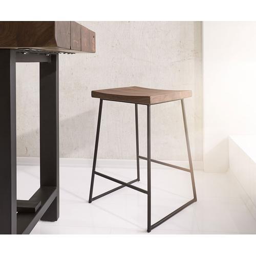 DELIFE Barstuhl Blokk Akazie Braun Metall mit Fußablage, Barstühle