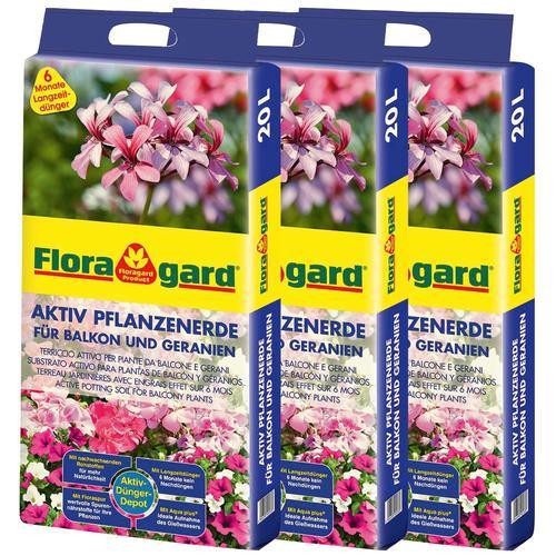Floragard Geranienerde Aktiv Pflanzenerde, für Balkon und Geranien, 3x20 Liter braun Zubehör Pflanzen Garten