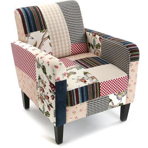 Versa Romantic Patchwork Sessel für Wohnzimmer, bequemer Sessel, 71x77x65cm