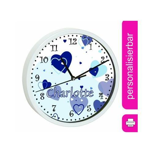 Kinder Wanduhr personalisiert mit Name Herz Blau weiß
