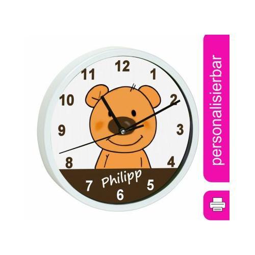 Kinder Wanduhr personalisiert mit Name Teddy Bär weiß