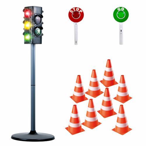 Play Fun Verkehrserziehung 11-tlg. Set mit Kinder-Ampel, Stop & Go Kelle und Verkehrshütchen