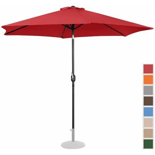 Sonnenschirm groß Gartenschirm (sechseckig, Ø 300 cm, neigbar, rot)
