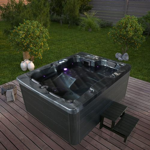 Outdoor Whirlpool Black Marble plus Treppe und Thermoabdeckung I Jacuzzi, Außenpool, Spa - Home
