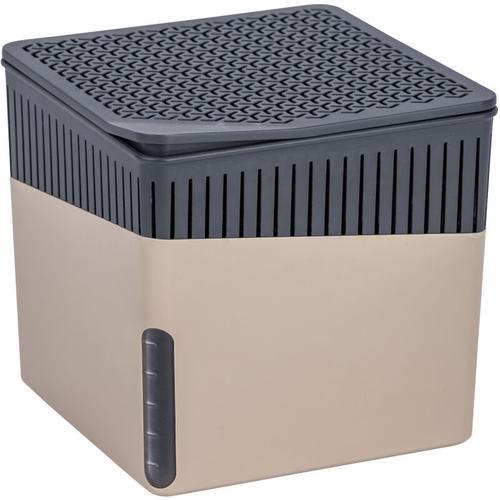 Wenko Raumentfeuchter Cube Beige 1000 g, 2er Set - Gehäuse: Beige, Calciumchlorid: Weiß, Korb: