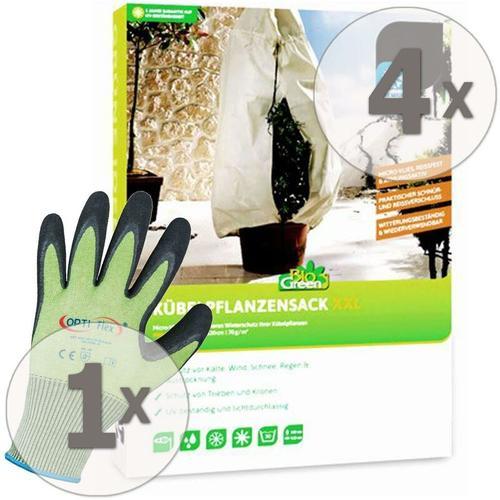 4 x Winterschutz Kübelpflanzensack XXL 180 x 120 cm + Gratis Handschuhe - Biogreen