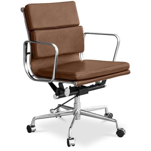 Soft T7 Stuhl - Hochwertiges Leder - Räder Hellbraun