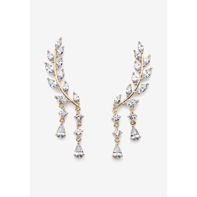 Plus Size Women's Goldtone Marquise Cut Ear Climber Drop Earrings Cubic Zirconia (3 cttw TDW) by PalmBeach Jewelry in Gold