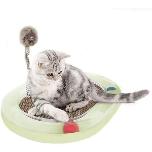 LITZEE Katzenspielzeug Katzenspielzeug aus Pappe Lounge Katzenspielzeug mit Maus und Frühlingsgrün