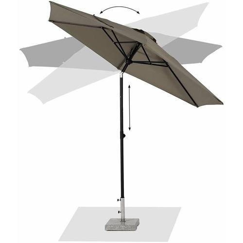300 cm Knickbarer Sonnenschirm für Balkon Terrasseschirm Sonnenschutz UPF50+, Taupe
