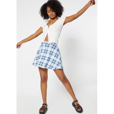 Rue21 Womens Light Blue Plaid Skater Skirt - Size Xl