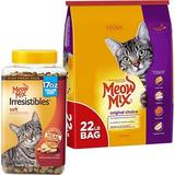 Meow Mix Original Choice Dry Food + Irresistibles Soft White Meat Chicken Cat Treats