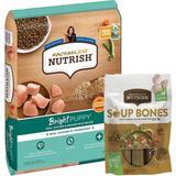 Rachael Ray Nutrish Bright Natural Real Chicken & Brown Rice Puppy Recipe Dry Food + Soup Bones Chicken & Veggies Flavor Dog Treats
