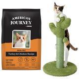 American Journey Turkey & Chicken Recipe Grain-Free Dry Food + Frisco Cactus Cat Scratching Post, 22-in