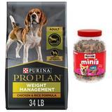 Purina Pro Plan Adult Weight Management Formula Dry Food + Milk-Bone Mini's Flavor Snacks Beef, Chicken & Bacon Flavored Biscuit Dog Treats
