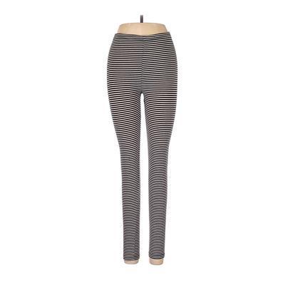 Uniqlo Leggings: Ivory Stripes Bottoms - Size Medium